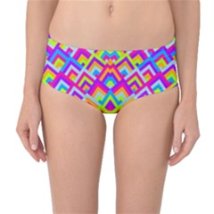 Colorful Trendy Chic Modern Chevron Pattern Mid-Waist Bikini Bottoms