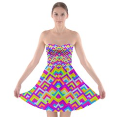 Colorful Trendy Chic Modern Chevron Pattern Strapless Bra Top Dress
