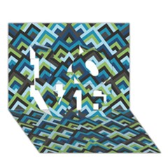 Trendy Chic Modern Chevron Pattern LOVE 3D Greeting Card (7x5)