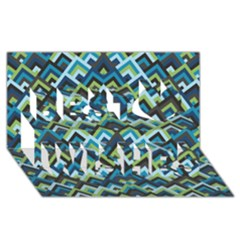 Trendy Chic Modern Chevron Pattern Best Wish 3D Greeting Card (8x4)