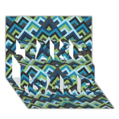 Trendy Chic Modern Chevron Pattern TAKE CARE 3D Greeting Card (7x5)