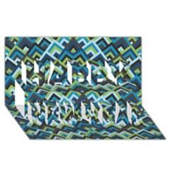 Trendy Chic Modern Chevron Pattern Happy New Year 3D Greeting Card (8x4)