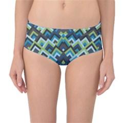 Trendy Chic Modern Chevron Pattern Mid-Waist Bikini Bottoms