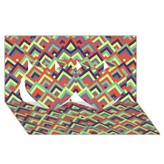 Trendy Chic Modern Chevron Pattern Twin Hearts 3d Greeting Card (8x4)