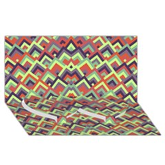 Trendy Chic Modern Chevron Pattern Twin Heart Bottom 3D Greeting Card (8x4)