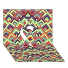 Trendy Chic Modern Chevron Pattern Ribbon 3D Greeting Card (7x5)