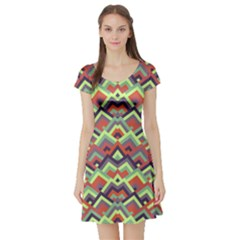 Trendy Chic Modern Chevron Pattern Short Sleeve Skater Dresses