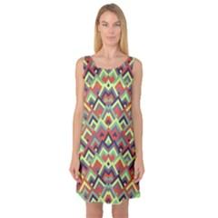 Trendy Chic Modern Chevron Pattern Sleeveless Satin Nightdresses