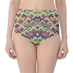 Trendy Chic Modern Chevron Pattern High-Waist Bikini Bottoms