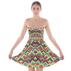 Trendy Chic Modern Chevron Pattern Strapless Bra Top Dress