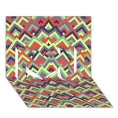Trendy Chic Modern Chevron Pattern I Love You 3d Greeting Card (7x5)