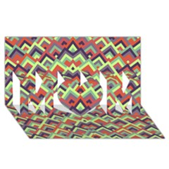 Trendy Chic Modern Chevron Pattern MOM 3D Greeting Card (8x4)