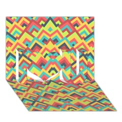 Trendy Chic Modern Chevron Pattern I Love You 3D Greeting Card (7x5)