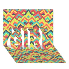 Trendy Chic Modern Chevron Pattern Girl 3d Greeting Card (7x5)