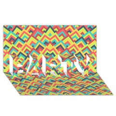 Trendy Chic Modern Chevron Pattern PARTY 3D Greeting Card (8x4)