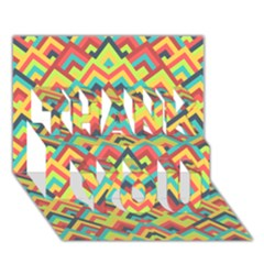 Trendy Chic Modern Chevron Pattern THANK YOU 3D Greeting Card (7x5)