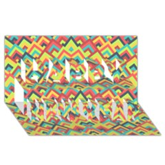 Trendy Chic Modern Chevron Pattern Happy New Year 3D Greeting Card (8x4)