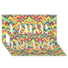 Trendy Chic Modern Chevron Pattern Laugh Live Love 3D Greeting Card (8x4)