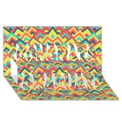Trendy Chic Modern Chevron Pattern Congrats Graduate 3D Greeting Card (8x4)