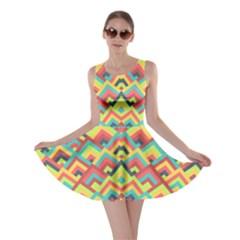 Trendy Chic Modern Chevron Pattern Skater Dresses