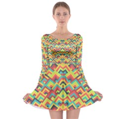 Trendy Chic Modern Chevron Pattern Long Sleeve Skater Dress