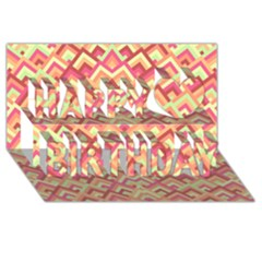 Trendy Chic Modern Chevron Pattern Happy Birthday 3D Greeting Card (8x4)