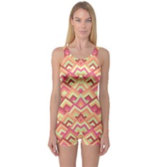 Trendy Chic Modern Chevron Pattern Women s Boyleg One Piece Swimsuits