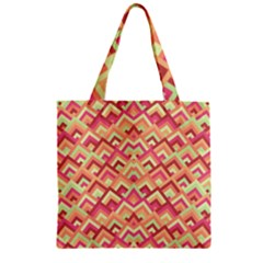 Trendy Chic Modern Chevron Pattern Zipper Grocery Tote Bags