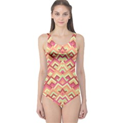 Trendy Chic Modern Chevron Pattern Women s One Piece Swimsuits