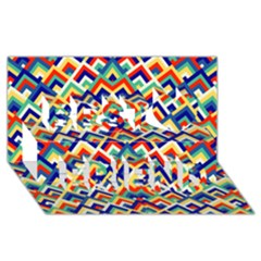 Trendy Chic Modern Chevron Pattern Best Friends 3D Greeting Card (8x4)