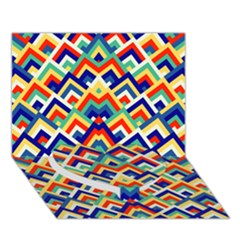 Trendy Chic Modern Chevron Pattern Heart Bottom 3d Greeting Card (7x5)