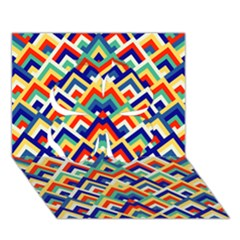 Trendy Chic Modern Chevron Pattern Clover 3D Greeting Card (7x5)