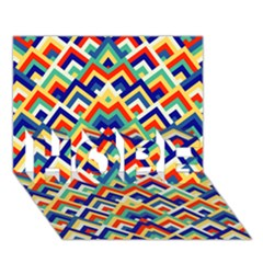 Trendy Chic Modern Chevron Pattern Hope 3d Greeting Card (7x5)