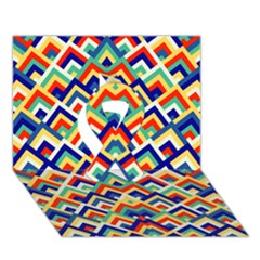 Trendy Chic Modern Chevron Pattern Ribbon 3d Greeting Card (7x5)