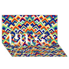 Trendy Chic Modern Chevron Pattern HUGS 3D Greeting Card (8x4)