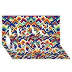 Trendy Chic Modern Chevron Pattern Best Wish 3D Greeting Card (8x4)
