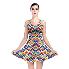 Trendy Chic Modern Chevron Pattern Reversible Skater Dresses