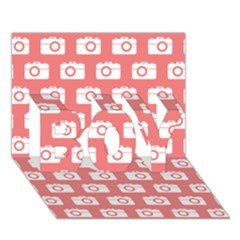 Modern Chic Vector Camera Illustration Pattern BOY 3D Greeting Card (7x5)