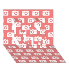 Modern Chic Vector Camera Illustration Pattern Love 3d Greeting Card (7x5)