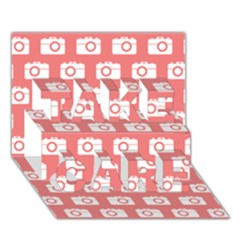 Modern Chic Vector Camera Illustration Pattern TAKE CARE 3D Greeting Card (7x5)