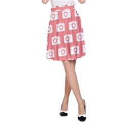 Modern Chic Vector Camera Illustration Pattern A-Line Skirts