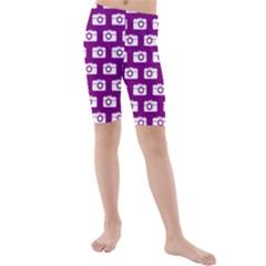 Modern Chic Vector Camera Illustration Pattern Kid s swimwear