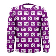 Modern Chic Vector Camera Illustration Pattern Men s Long Sleeve T Shirts