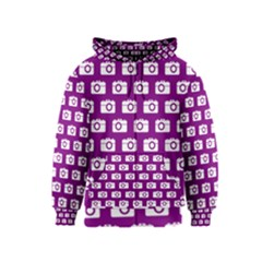 Modern Chic Vector Camera Illustration Pattern Kids Zipper Hoodies