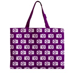 Modern Chic Vector Camera Illustration Pattern Zipper Tiny Tote Bags