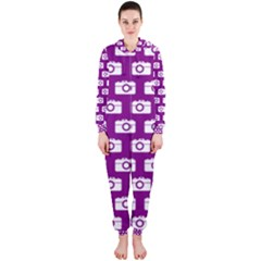 Modern Chic Vector Camera Illustration Pattern Hooded Jumpsuit (ladies)