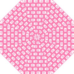Pink Modern Chic Vector Camera Illustration Pattern Straight Umbrellas