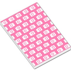 Pink Modern Chic Vector Camera Illustration Pattern Large Memo Pads
