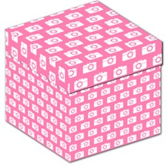 Pink Modern Chic Vector Camera Illustration Pattern Storage Stool 12