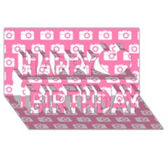 Pink Modern Chic Vector Camera Illustration Pattern Happy Birthday 3d Greeting Card (8x4)